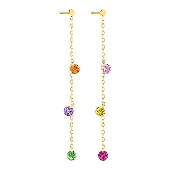 Pendientes La Brune & La Blonde largos Confetti Rainbow- 6 Piedras