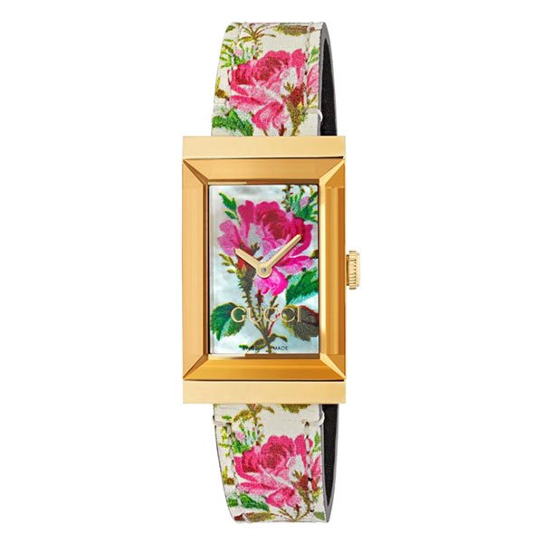 Reloj Gucci G-Frame Floral Gold PVD