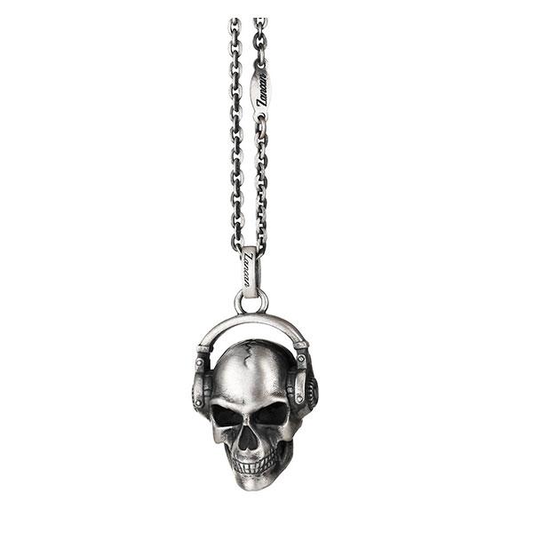 Collar Zancan de plata con auriculares y calavera