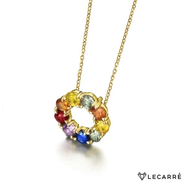 Gargantilla de oro amarillo de 18kt con círculo de zafiros color arcoíris.