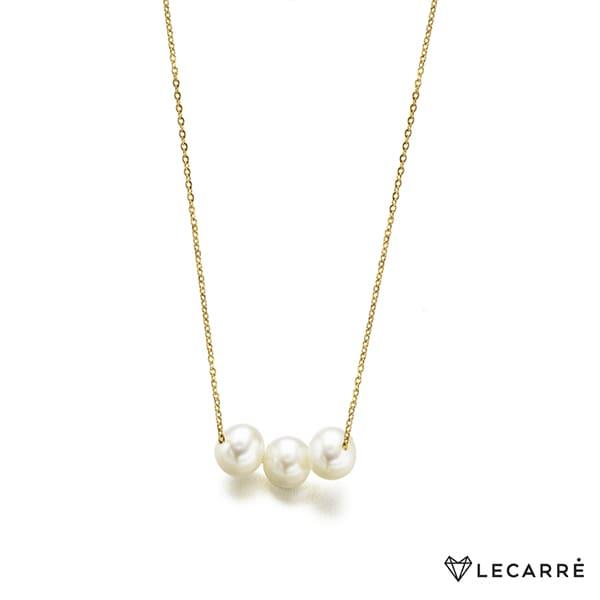 Gargantilla de oro blanco con 3 perlas cultivadas naturales