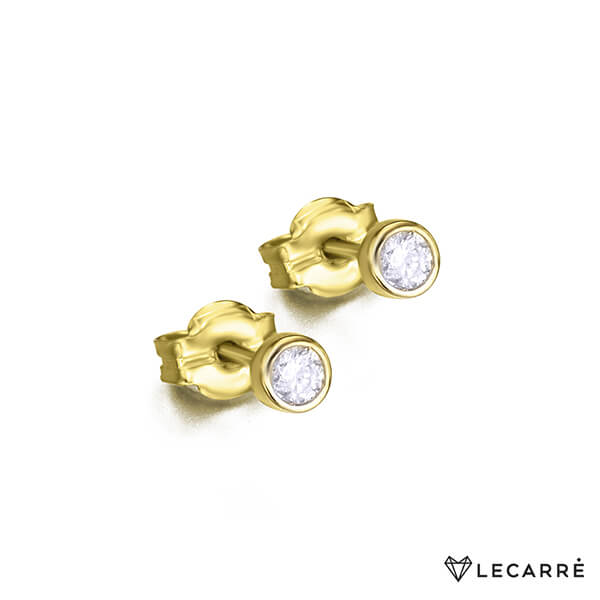 Pendientes solitario en chatón de oro amarillo 18kt (1ª ley) y diamantes