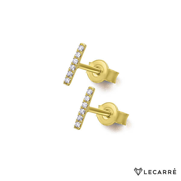 Pendientes barrita oro amarillo y diamantes