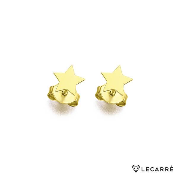 Pendientes lisos estrella pequeña con 5 puntas de oro amarillo 18 kt