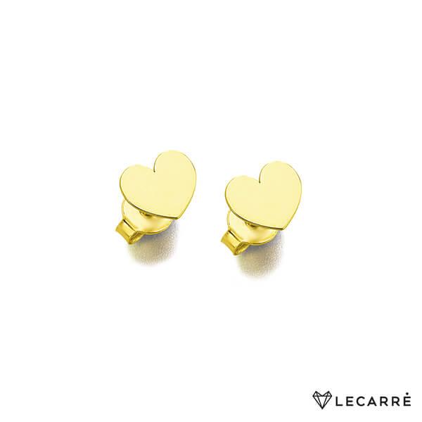 Pendientes lisos corazon pequeño de oro amarillo de 18kt