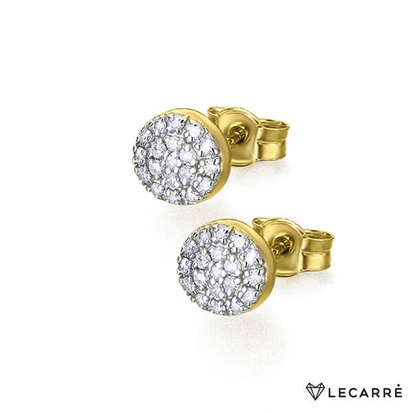 Pendientes rosetas bicolor con diamantes