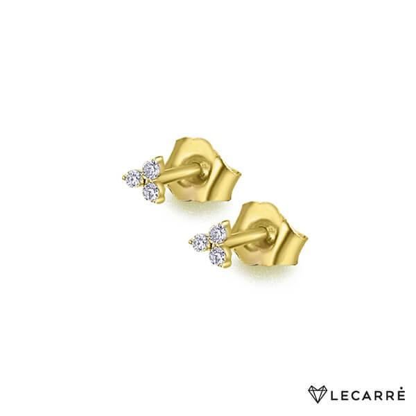 Pendiente individual de oro amarillo con 3 diamantes que forman un triángulo