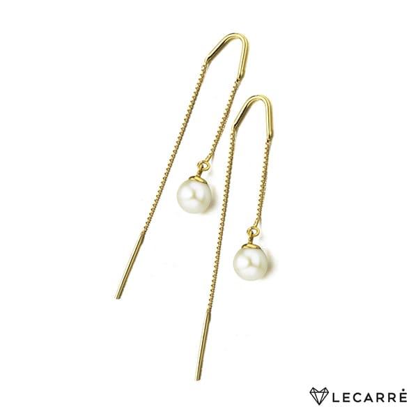 Pendientes largos de oro amarillo con perla cultivada