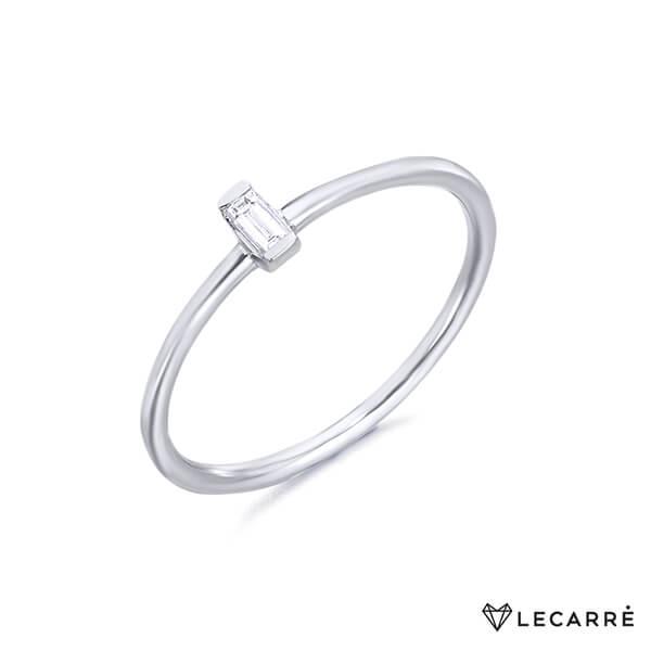Anillo con diamante talla baguette oro blanco - LeCarré