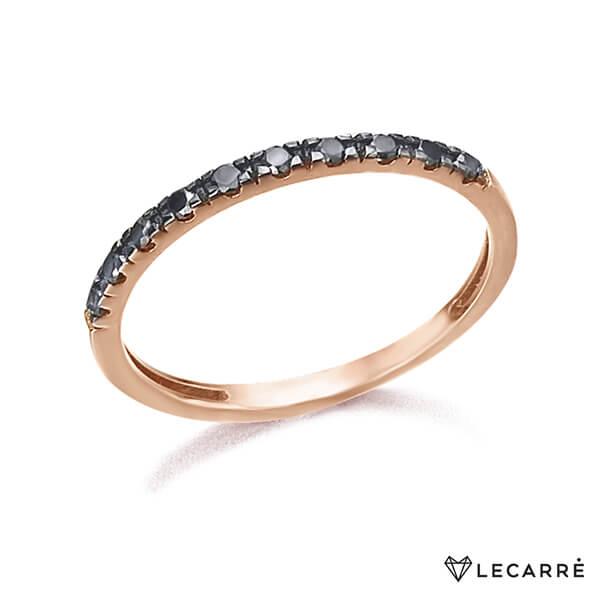 Anillo media alianza oro rosa y diamantes negros - LeCarré