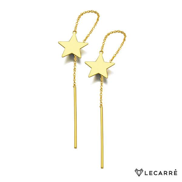 Pendientes oro largos con cadenita y estrella - LeCarré