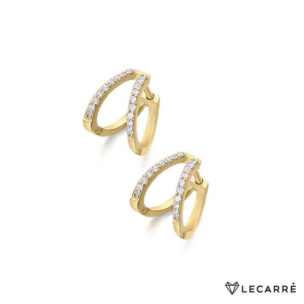 Pendientes oro doble criolla con diamantes - LeCarré