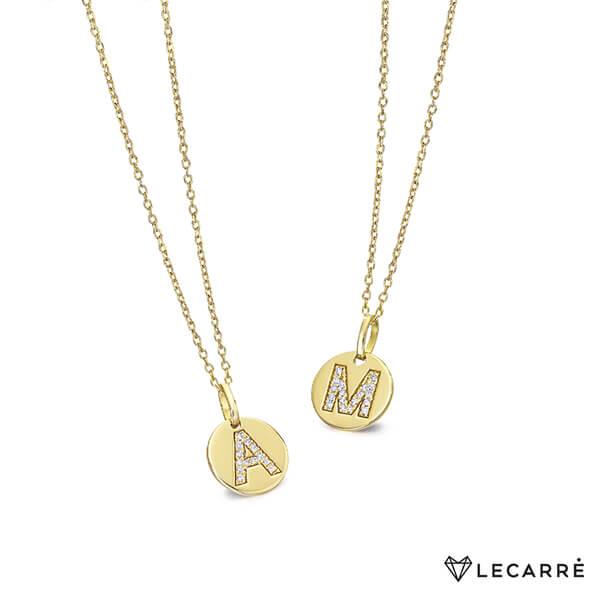 Cadena + chapita con inicial diamantes - LeCarré