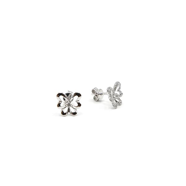 Pendientes oro blanco mariposa con diamantes